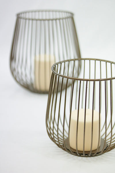 """Lieve"" Metal Basket Candle Holders"