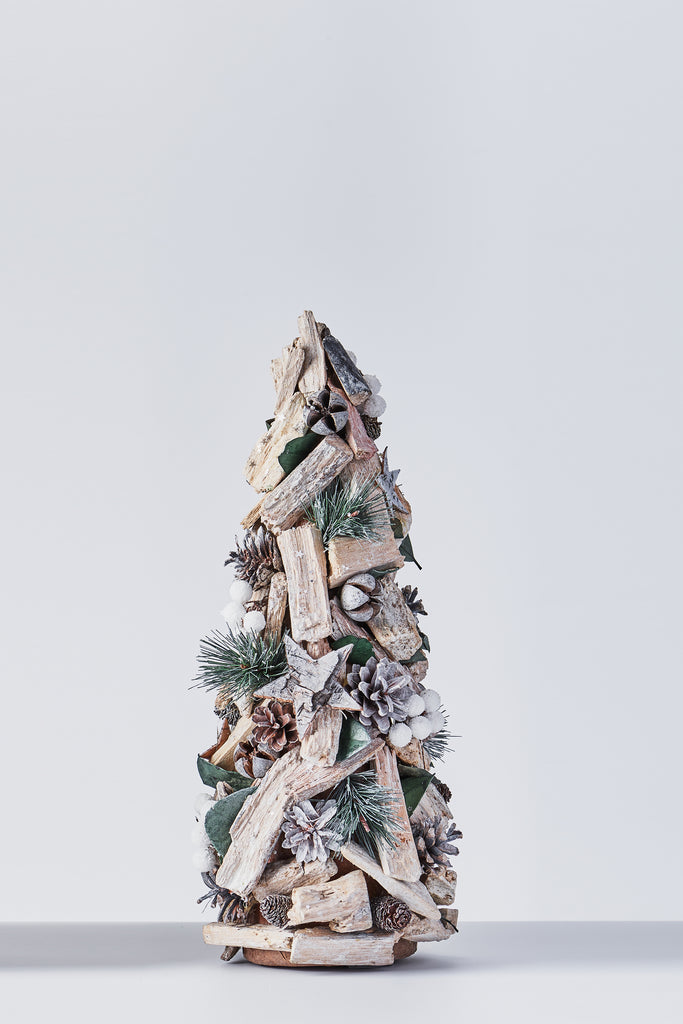 Handcrafted Christmas Tree with Pinecones and Wood Chips