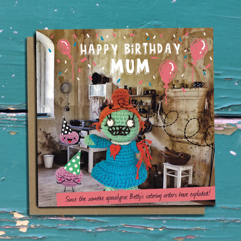 Zombie Mum Mom card. Mum Mom Birthday