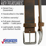 Key features of Mt. Pisgah Titanium Nickel Free Brown Distressed Leather Belt | Hypoallergenic buckle made from lightweight durable pure titanium, handmade in the USA, lifetime warranty, stitched on nickel-free buckle, full grain distressed leather