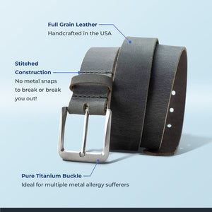 Elite belt is handcrafted in the USA, guaranteed for life and is ideal for those with metal allergy
