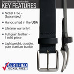 Key features of Smoky Mountain Titanium Nickel Free Black Leather Belt | Hypoallergenic buckle made from lightweight durable pure titanium, handmade in the USA, lifetime warranty, stitched on nickel-free buckle, full grain leather