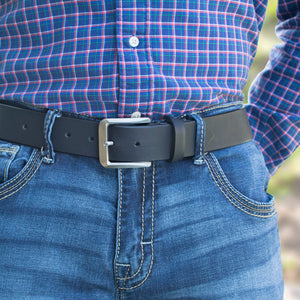 Pure titanium buckle sewn to genuine black leather strap.  Smoky Mountain Titanium Belt