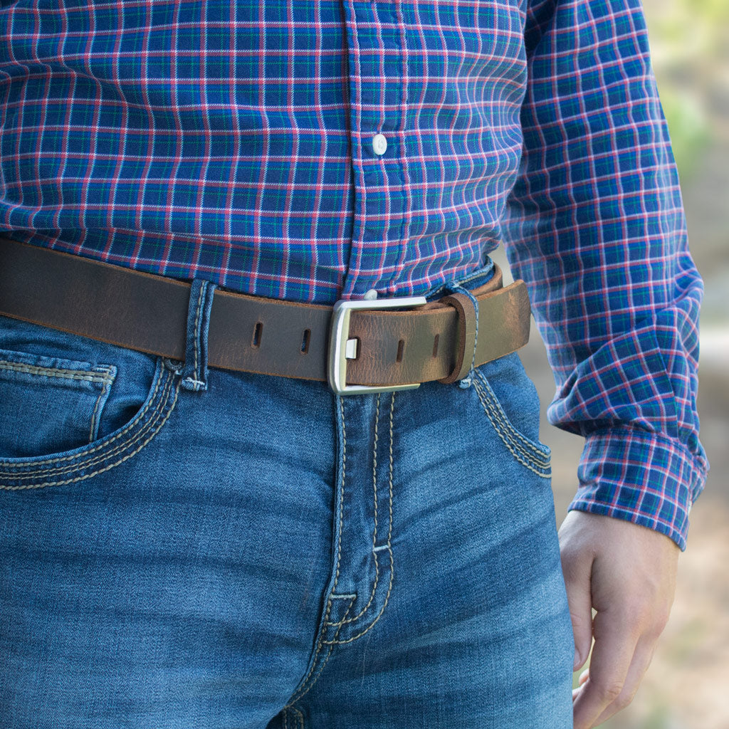 Distressed Leather Brown Belt with pure titanium wide pin buckle.  Titanium Wide Pin Distressed Leather Belt