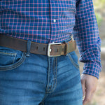 Titanium Wide Pin Distressed Leather Belt, Nickel Smart, Distressed Leather, Nickel Free