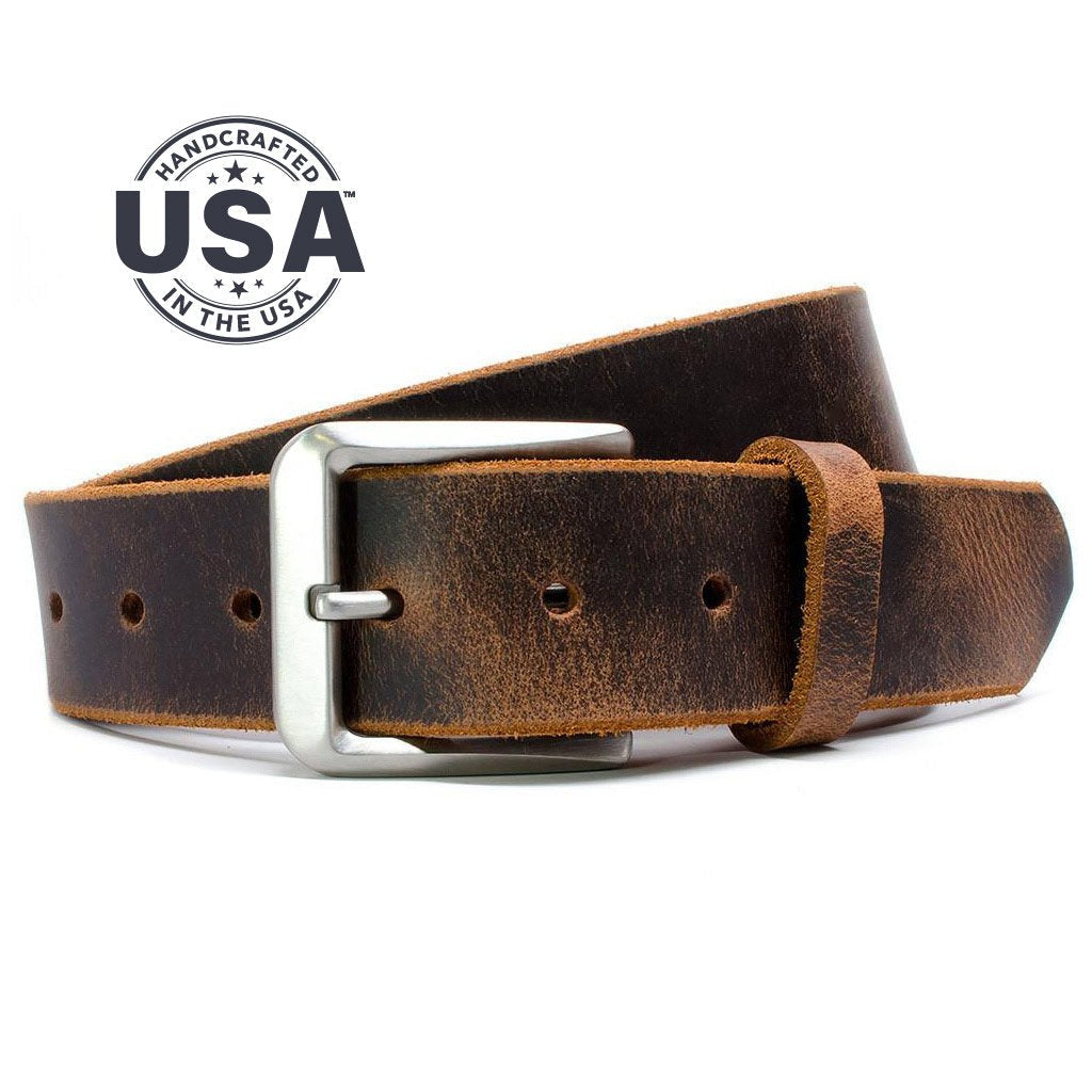 Mt. Pisgah Titanium Distressed Leather Belt, handcrafted full grain leather, made in the USA, titanium buckle