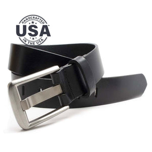Titanium Wide Pin Black Belt, Casual belt, handcrafted full grain leather, made in the USA, Titanium wide Buckle