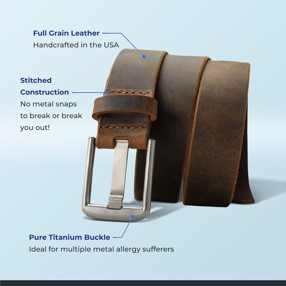 Titanium Wide Pin Distressed Leather infographic showing benefits like nickle free, genuine leather