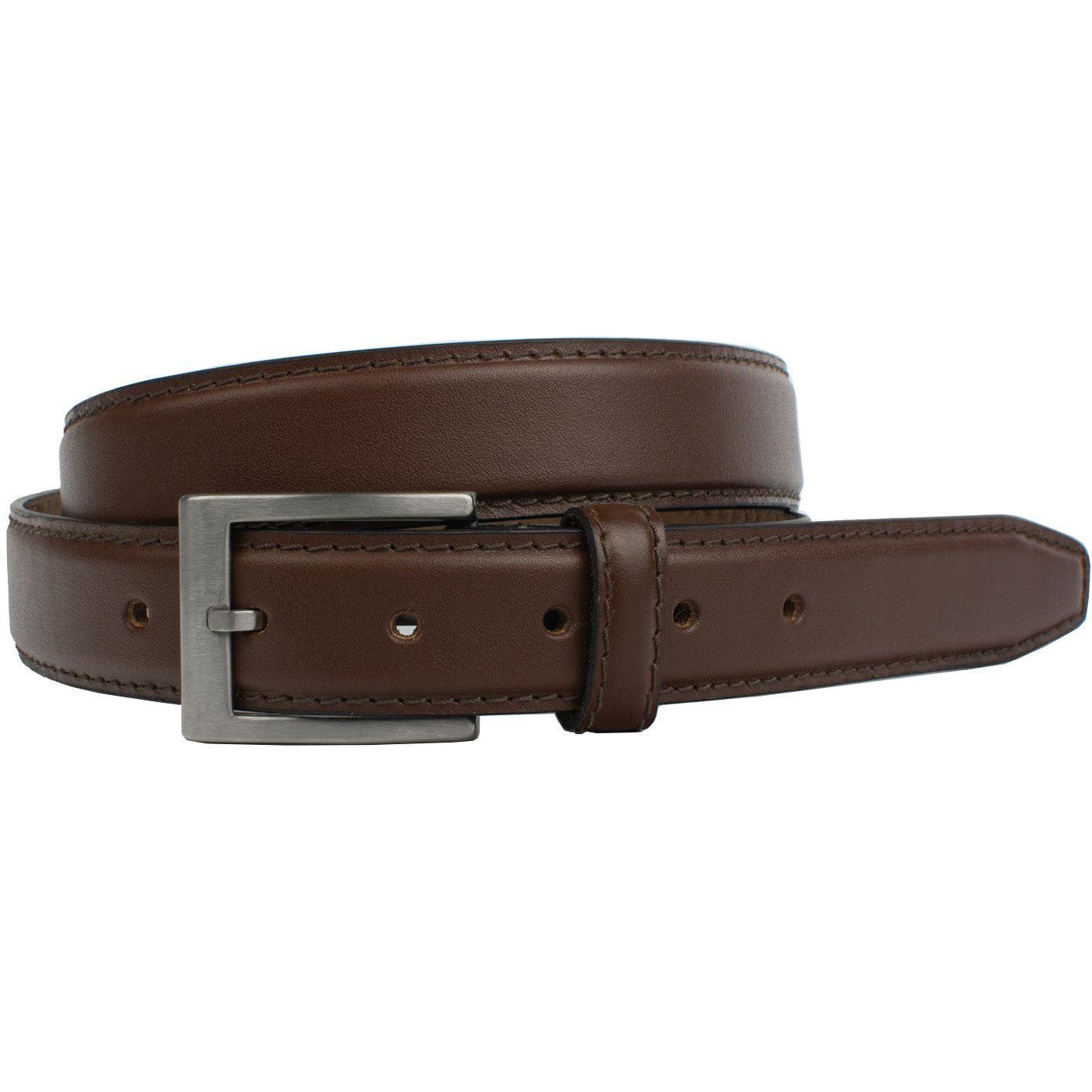 Silver Square Titanium Brown Belt by Nickel Smart®