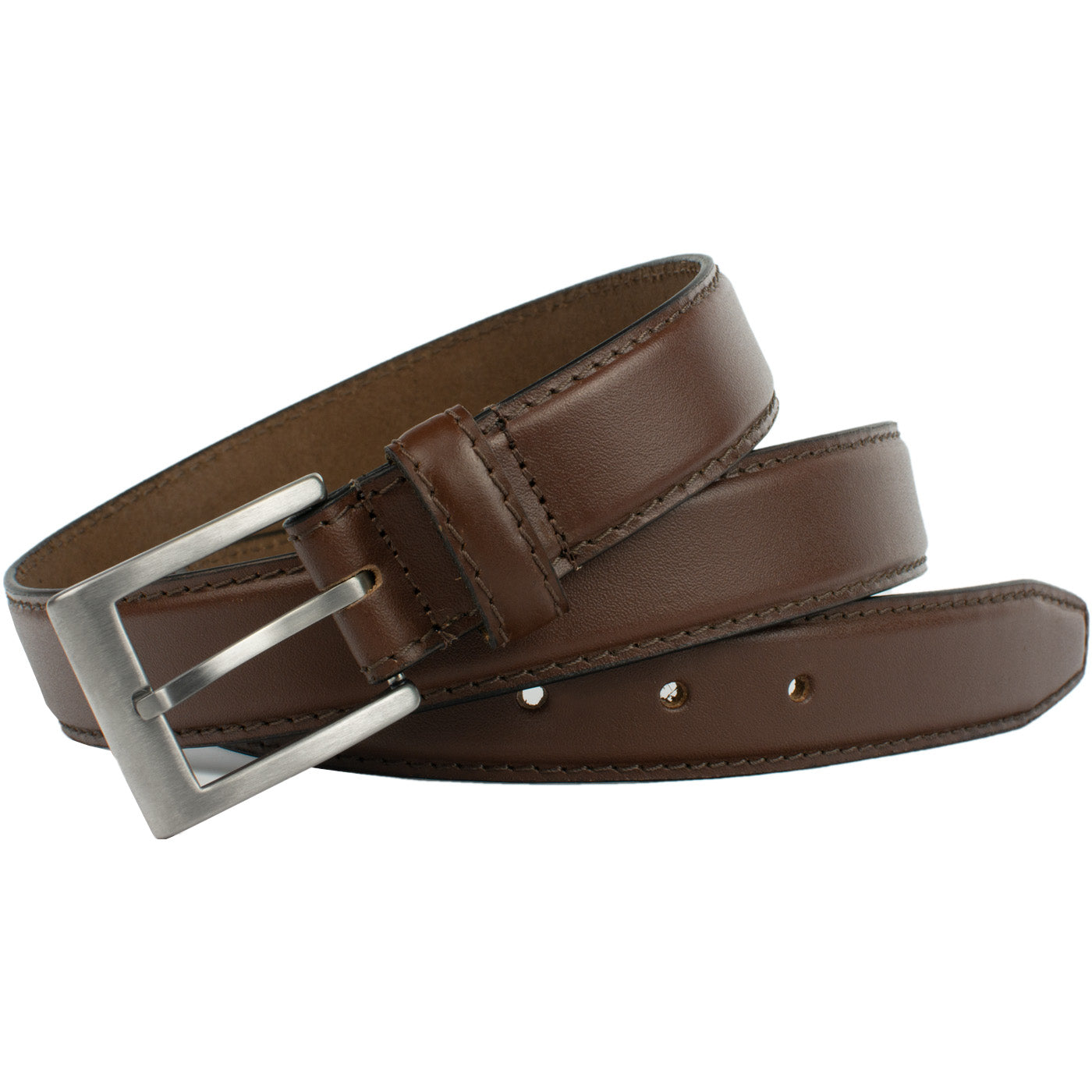 Silver Square Brown Belt by Nickel Smart- Brown Belt, Full Grain Leather, Titanium Buckle