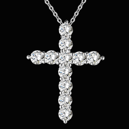 Crystal Cross Stone Pendant Necklace