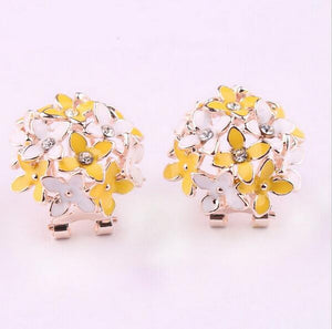 Crystal Flower Clover Earrings