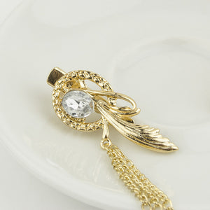 Crystal Feather Charm Hair Brooch
