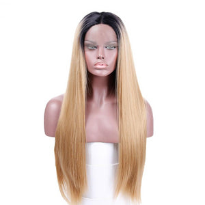 SHANGKE Long Straight Synthetic Lace Front Wigs Ombre Blonen Heat Resistant Two Tone Wigs 150% Density Hand Tied Lace Part