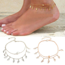 Load image into Gallery viewer, Tassel Leaves Double Layer Anklet
