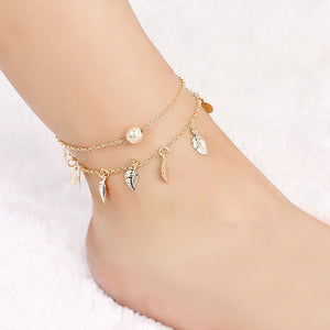 Tassel Leaves Double Layer Anklet