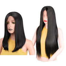 Load image into Gallery viewer, Straight Black Synthetic Lace Front Wig