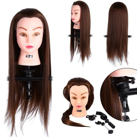 24'' Human Hair Training Practice Head Mannequin Hairdressing + Clamp Holder,24'' Human Hair Training Practice Head Mannequin Hairdressing
