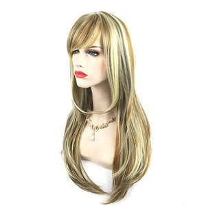 Small Wave Human Hair Wigs Long Curly Wavy Full Hair Wigs Heat Resistant Gradient Color Wig
