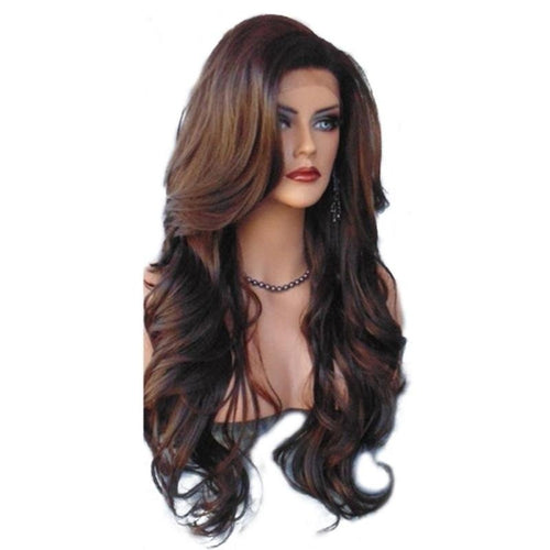 Women's Fashion Long Middle Part Shaggy Big Wavy Full Wig Synthetic Human Hair