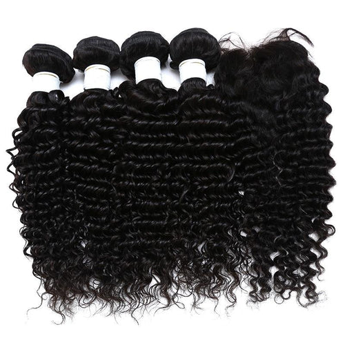 Hair Bundle With Closure Deep Wave