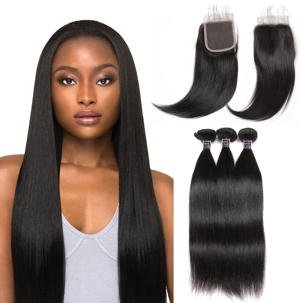Malaysian Unprocessed Straight Virgin Human Hair 3 Bundles With Lace Closure hair bundles with closure hair extensions hair weaves
