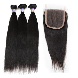 Peruvian Unprocessed Straight Virgin Human Hair 3 Bundles With Lace Closure hair weaves with closure hair bundles with closure hair extensions
