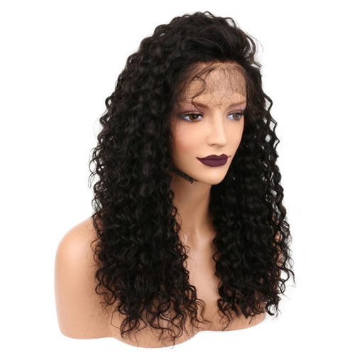 Fashion Black Brazilian Lace Front Human Hair Wig Glueless Curly Full Wig