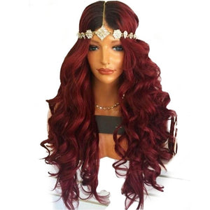 Long Wavy Wig Synthetic Red Wig Cosplay Wig For Women