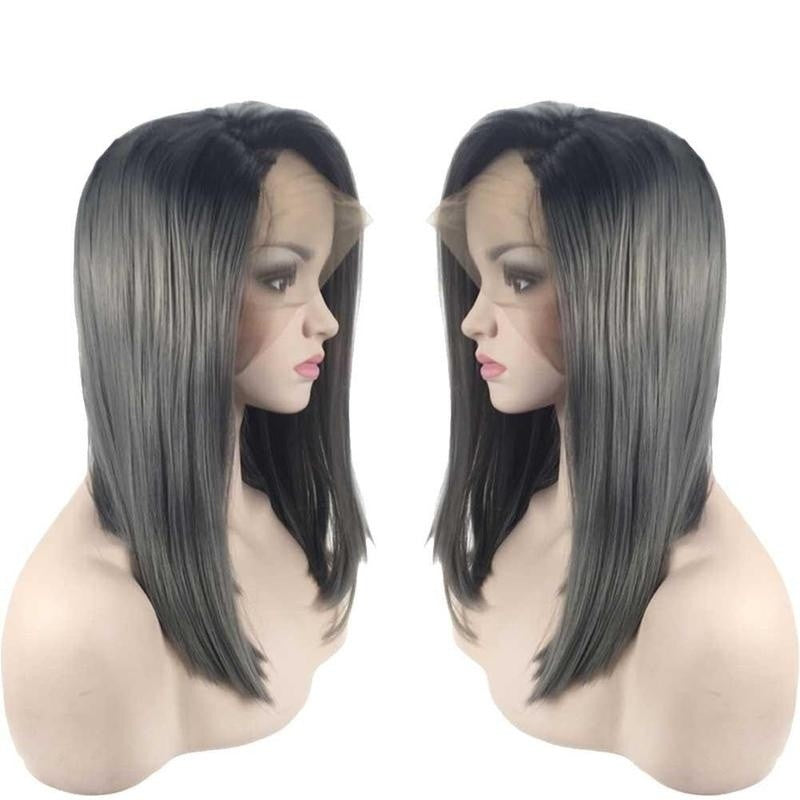 Ombre Black Root and Gray Grey Silver Synthetic Lace Front Wigs Bob Wig Synthetic Hair Short Straight Ombre Glueless Lace Front Hair Wig