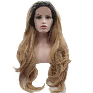 Platinum Blonde Body Wave Wig Ombre Wigs Heat Resistant Synthetic Lace Front Wigs