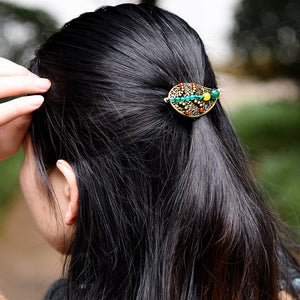 Leaves Beaded Coiled Hair Brooch