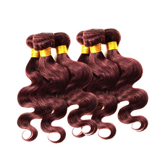 10 24 Inhes Brazilian Wave Curly Hair Human Hair Extensions Weave Wig Wine Red Color