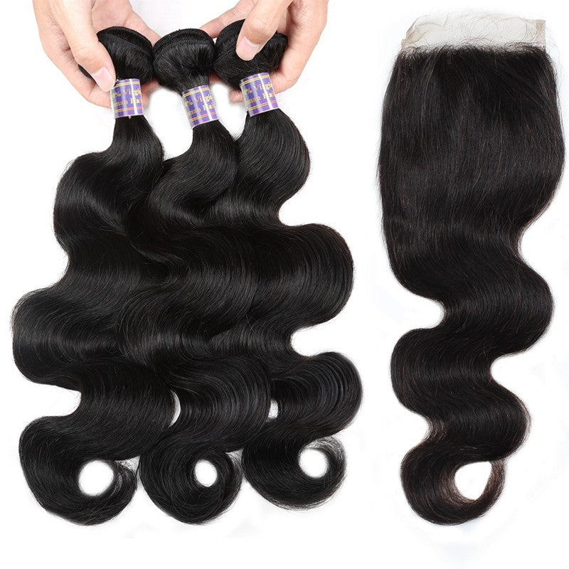 Indian Unprocessed Body Wave Virgin Human Hair 3 Bundles With Lace Closure hair extensions