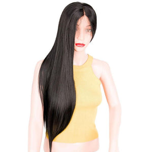 Straight Black Synthetic Lace Front Wig
