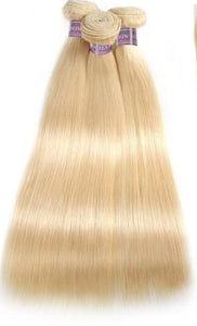 Premium Platinum hair Blonde Hair Brazilian Straight human virgin Hair 3 Bundles remy hair #613 Color