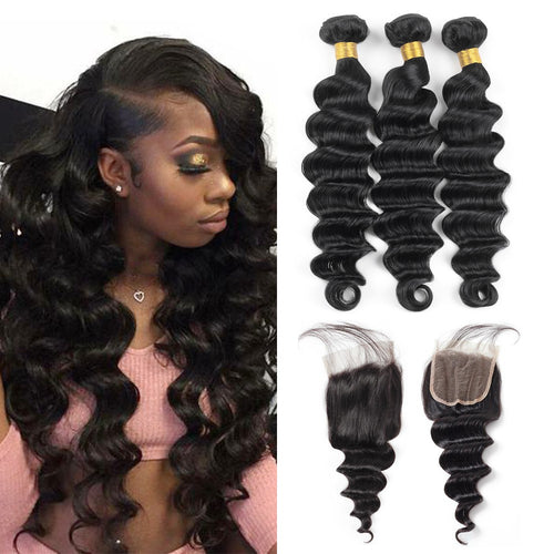 Easy Brazilian Human Hair Loose Deep High Quality Hair Weft Hair Extensions 3 Bundles with Lace Closure