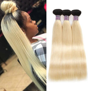 Brazilian straight hair ombre human hair weft T1B/#613 tip  color hair bundles 3 pcs a lot Platinum remy hair high quality hair