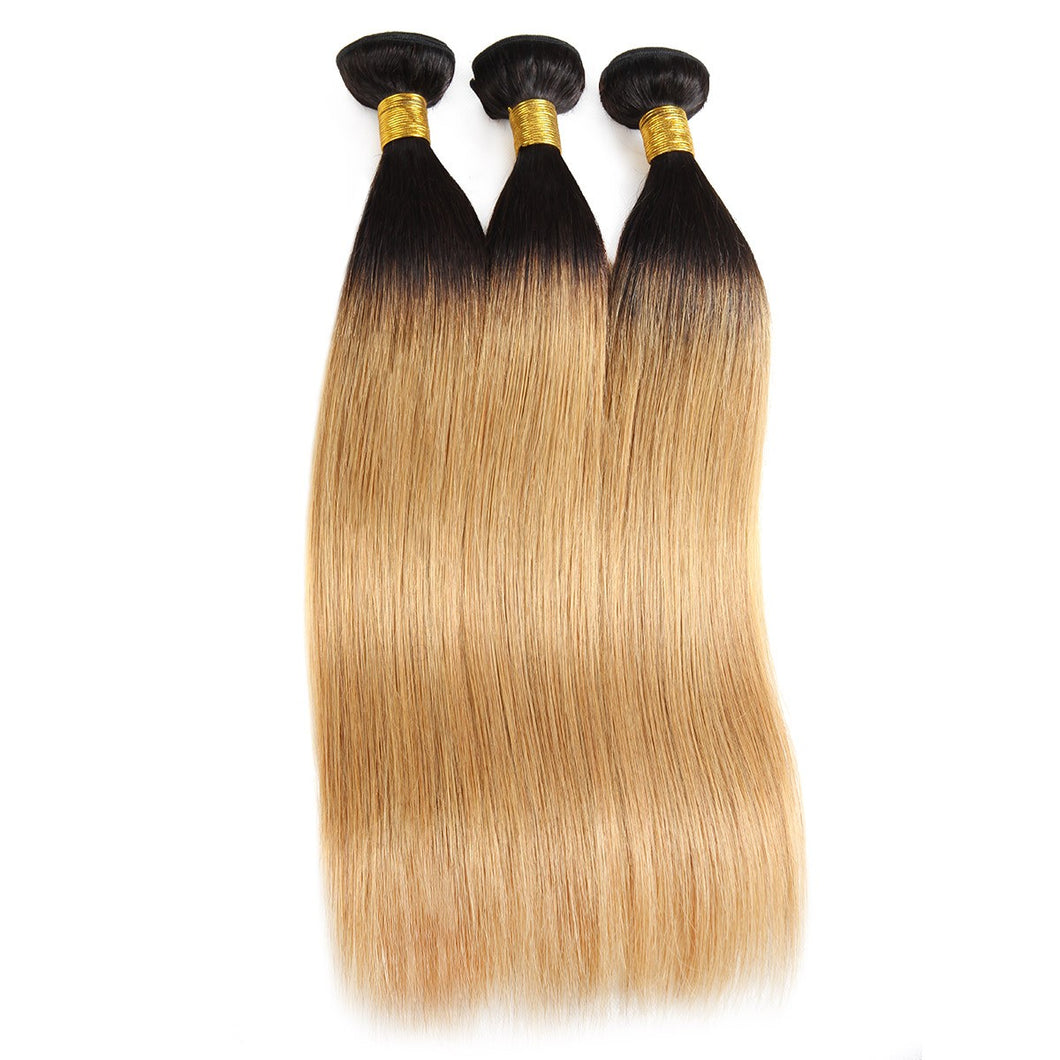 Brazilian straight human hair Tip color hair obmre hair T1B/#27 3 bundles hair wefts affordable hair extensions