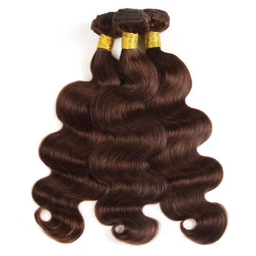 Brazilian human virgin hair extensions body wave color hair #4 dark brown color hair weft 3 bundles a lot premium hair texture