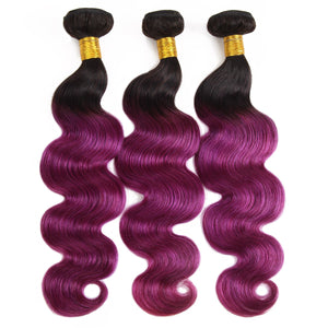 Brazilian body wave  human hair extensions ombre color hair weft T1B/purple color 3 bundles a lot good looking hair weaves