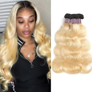 Malaysian body wave hair ombre human hair weft T1B/#613 tip  color hair bundles 3 pcs a lot Platinum remy hair high quality hair