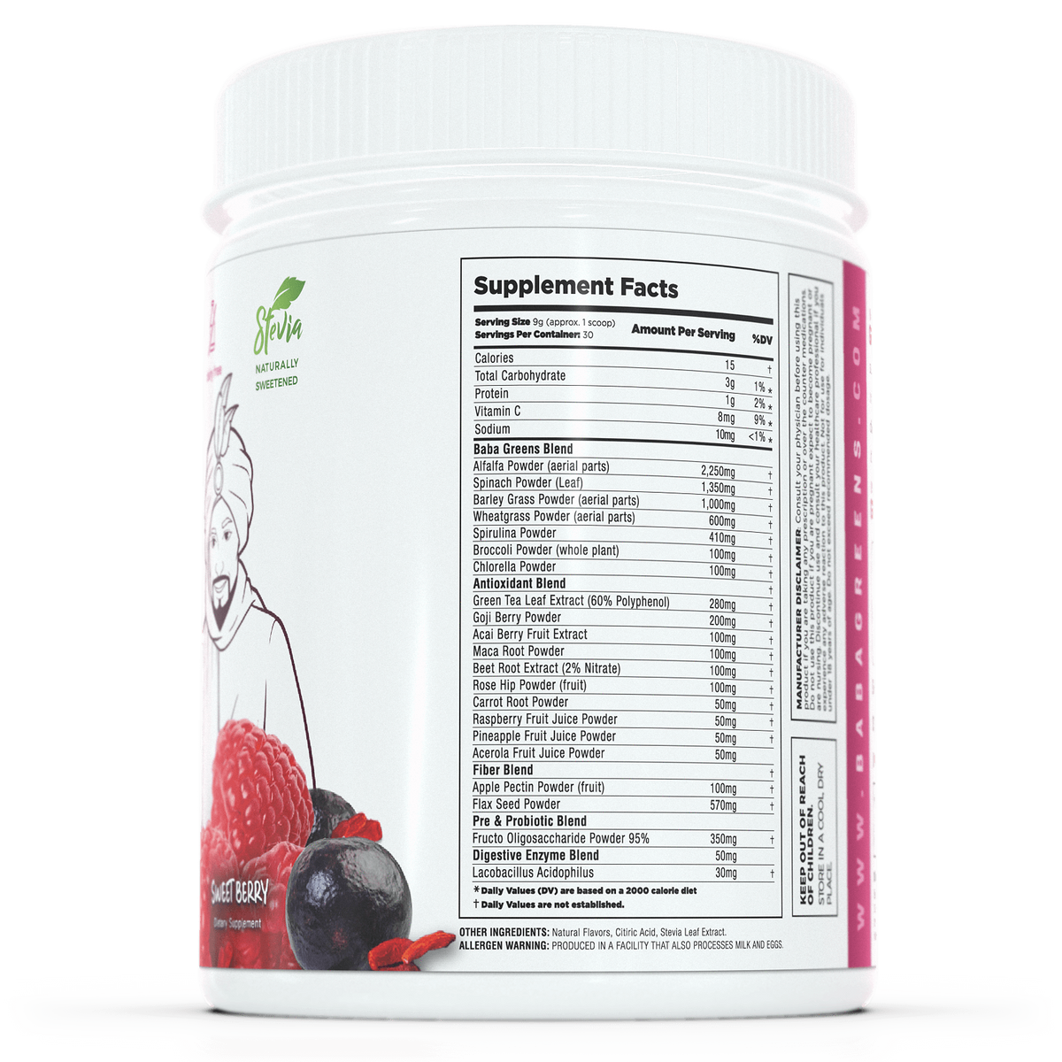 Baba Greens - Sweet Berry - 10.2oz - supplement facts