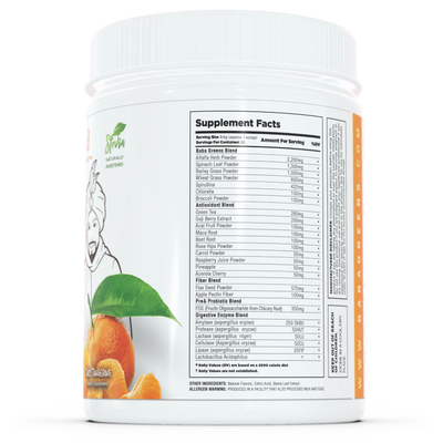 Baba Greens - Juicy Tangerine - 10.2oz - supplement facts