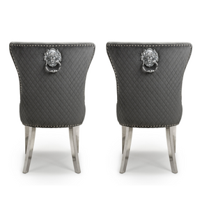 Coco Dining Chair Brushed Grey Velvet (Pair)