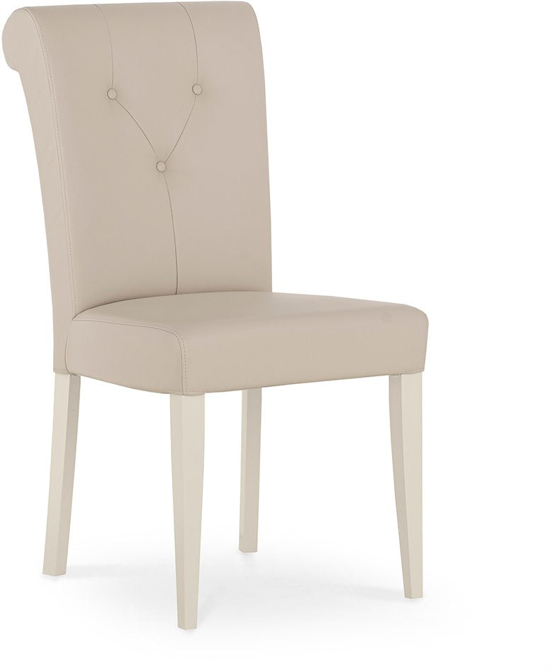 Marseilles Upholstered Chair Ivory Bonded Leather (Pair)