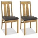 Turin Light Oak Slatted Chair Brown Bonded Leather (Pair)
