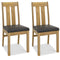 Tuscany Light Oak Slatted Chair Brown Bonded Leather (Pair)