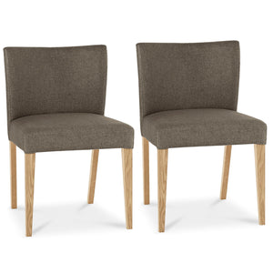 Tuscany Light Oak Low Back Upholstered Chair Black Gold Fabric (Pair)