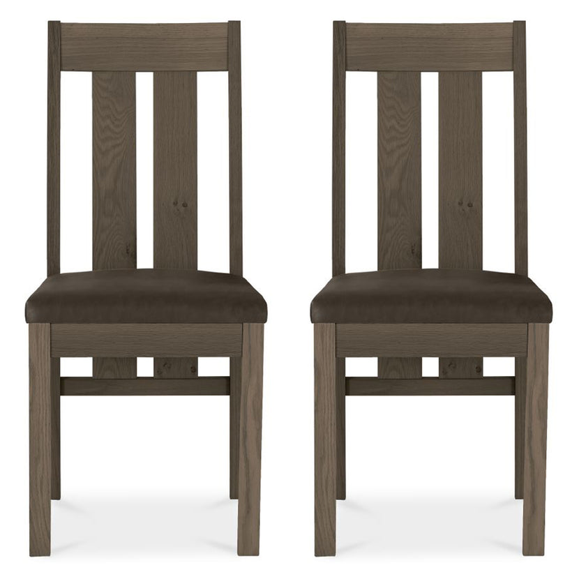Tuscany Dark Oak Slatted Chair Brown Leather (Pair)